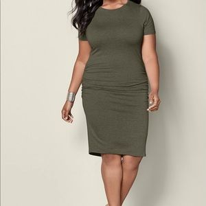 Basic high neck ruched side dress